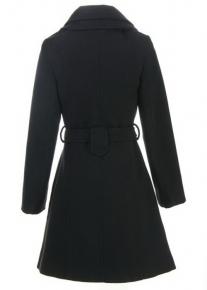 Двубортное пальто с двойным асимметричным воротником