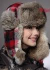 Клетчатая шапка ушанка с меховой отделкой