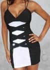 Оригинальное черно-белое платье на бретельках