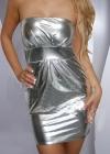 Серебристое платье без бретелей