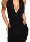 Оригинальное черное платье с лямками на талии