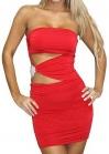 Красное платье с украшением на талии