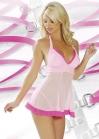 Эротический розовый пеньюар с оборочкой