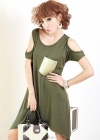 Платье с  ассиметричным подолом и открытыми плечиками